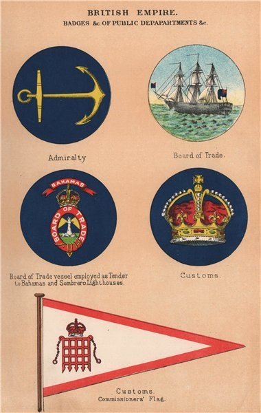 Associate Product BRITISH EMPIRE FLAGS & BADGES Admiralty Board of Trade Customs Commissioner 1916