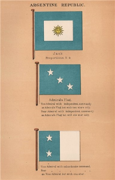 Associate Product ARGENTINA FLAGS. Jack. Admiral. Vice Admiral with subordinate command 1916