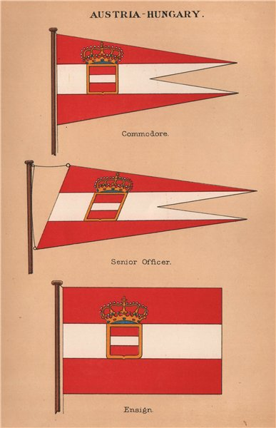 Associate Product AUSTRIA-HUNGARY FLAGS. Commodore. Senior Officer. Ensign 1916 old print