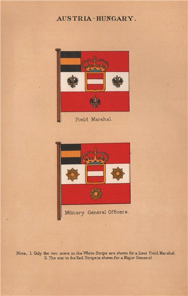 AUSTRIA-HUNGARY FLAGS. Field Marshal. Military Officers. Major General 1916