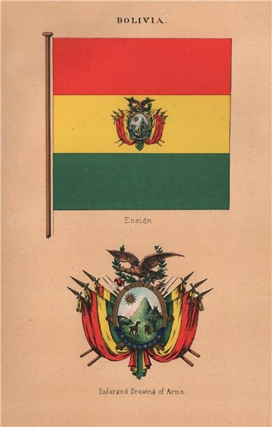 Associate Product BOLIVIA FLAGS. Ensign. Enlarged drawing of Arms 1916 old antique print picture