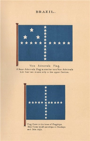 Associate Product BRAZIL FLAGS. Vice Admiral's Flag. Rear-Admiral. Flagship warship 1916 print