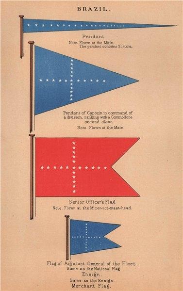 Associate Product BRAZIL FLAGS Captain's Pendant Senior Officer Fleet Adjutant General 1916