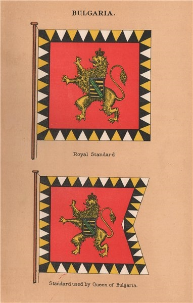 Associate Product BULGARIA FLAGS. Royal Standard. Standard used by Queen of Bulgaria 1916 print