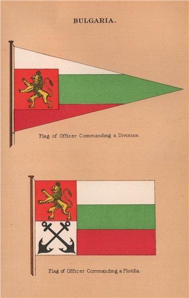 BULGARIA FLAGS. Flag of Officer Commanding a Division & Flotilla 1916 print