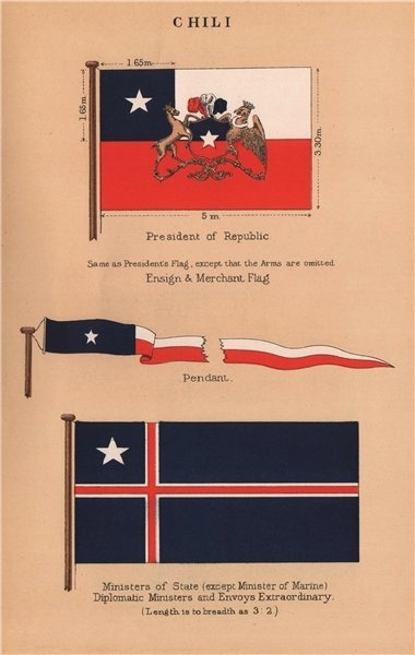 Associate Product CHILE FLAGS. President of Republic. Pendant. Diplomatic/Ministers of State 1916