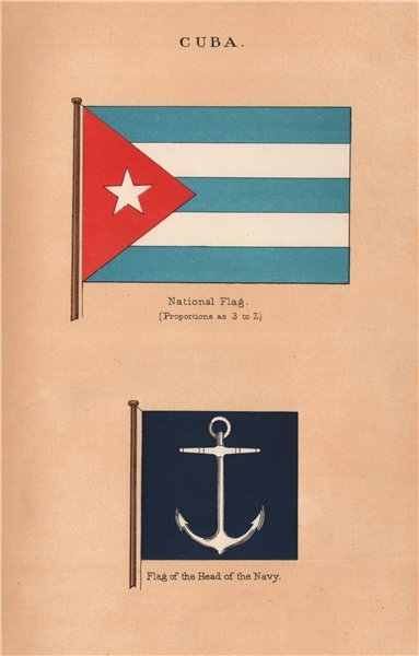 Associate Product CUBA FLAGS. National Flag. Flag of the Head of the Navy 1916 old antique print