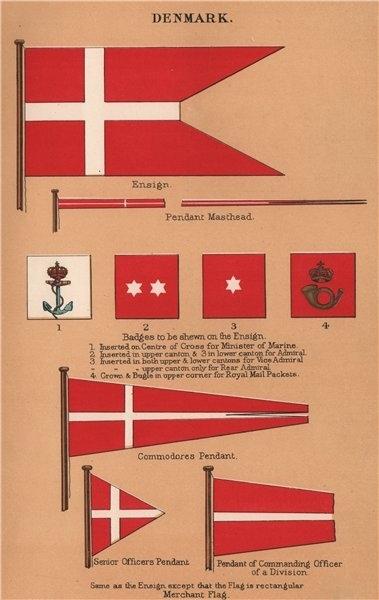 Associate Product DENMARK FLAGS. Ensign. Pendant Masthead. Badges. Commodore/Senior Officer 1916