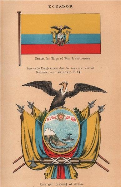 Associate Product ECUADOR FLAGS. Ships of War/Fortresses Ensign/Arms. National/Merchant Flag 1916