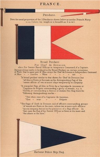 Associate Product FRANCE FLAGS. Pendant. Chef de Division Broad Pendant. Harbour Police ship 1916