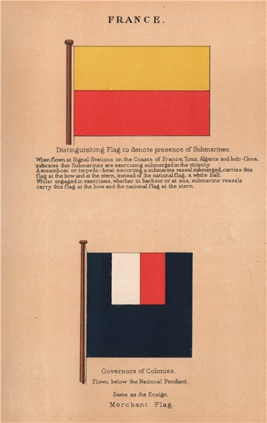 Associate Product FRANCE FLAGS. Flag to denote presence of submarines. Governors of Colonies 1916
