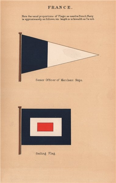 Associate Product FRANCE FLAGS. Senior Officer of Merchant Ships. Sailing Flag 1916 old print