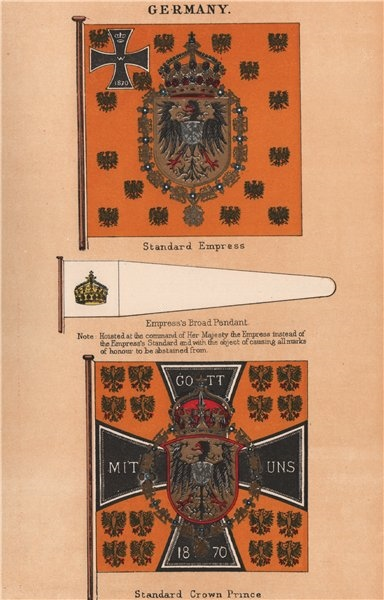 Associate Product GERMANY FLAGS. Empress's Standard & Broad Pendant. Crown Prince's Standard 1916
