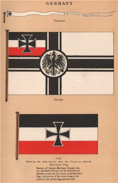 GERMANY IMPERIAL FLAGS. Pendant. Ensign. Jack. Merchant Flag 1916 old print