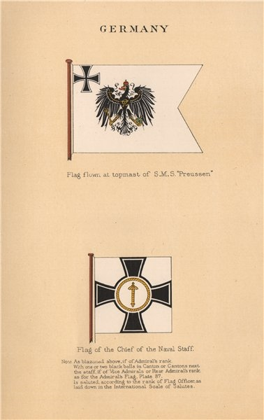 Associate Product GERMAN IMPERIAL FLAGS. SMS Preussen topmast flag. Chief of the Naval Staff 1916