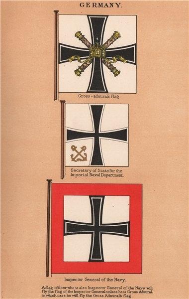 Associate Product GERMAN IMPERIAL FLAGS. Gross-admiral. Navy Secretary. Inspector General 1916