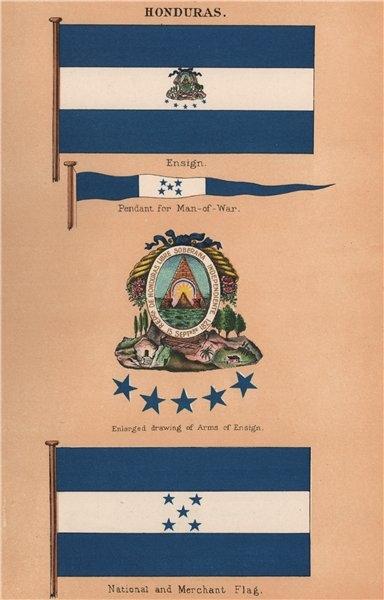 Associate Product HONDURAS FLAGS. Ensign & Arms. Man-of-War Pendant. National. Merchant 1916