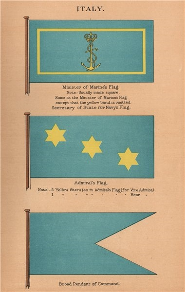 Associate Product ITALY FLAGS. Minister of Marine/Secretary of State for Navy Admiral Pendant 1916