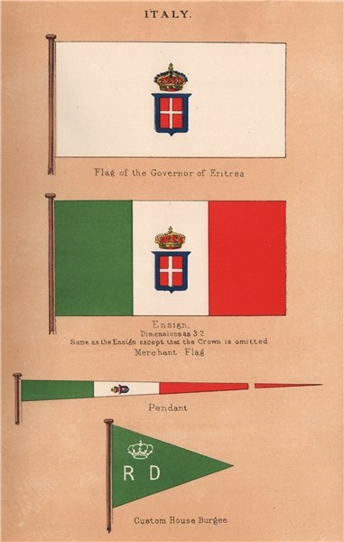 Associate Product ITALY FLAGS. Governor of Eritrea. Ensign. Pendant. Custom House Burgee 1916
