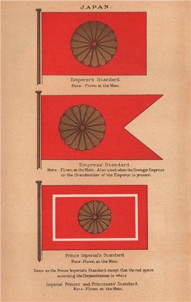 Associate Product JAPAN FLAGS. Emperor's Standard. Empress Standard. Prince Imperial 1916 print