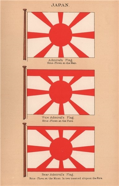 Associate Product JAPAN FLAGS. Admiral's Flag. Vice Admirals Flag. Rear Admiral's Flag 1916