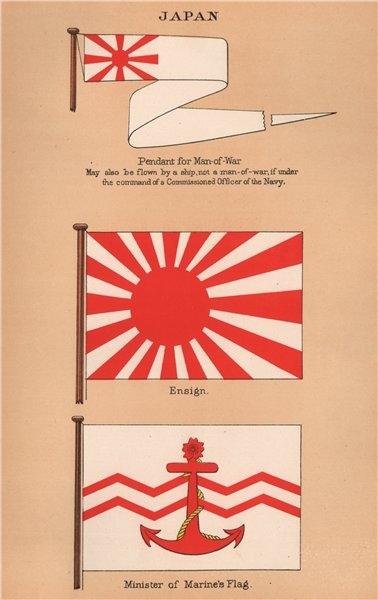 JAPAN FLAGS. Pendant for Man-of-War. Ensign. Minister of Marine's Flag 1916