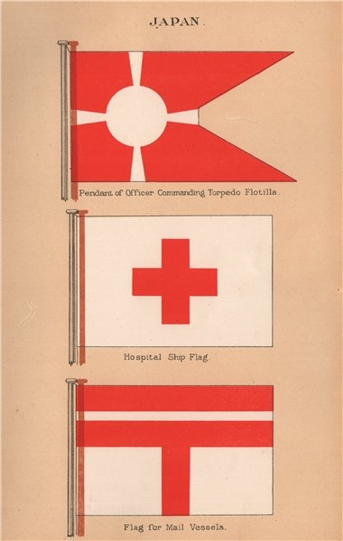 Associate Product JAPAN FLAGS. Torpedo Flotilla pendant. Hospital Ship Flag. Mail Vessel flag 1916
