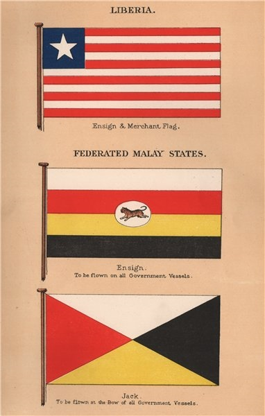 Associate Product FEDERATED MALAY STATES. Ensign & Jack- Government Vessels. LIBERIA Merchant 1916