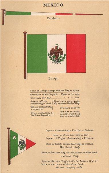 Associate Product MEXICO FLAGS. Pendant. Ensign. Captain Commanding a Flotilla or Division 1916