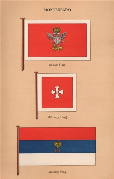 Associate Product MONTENEGRO FLAGS. State Flag. Military Flag. Marine Flag 1916 old print