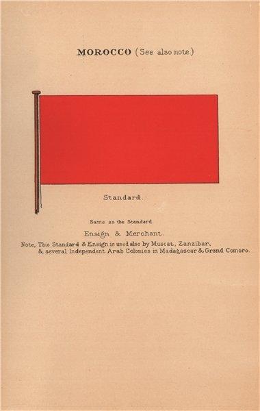 Associate Product MOROCCO FLAGS. Standard Ensign Merchant. Also Muscat Zanzibar Madagascar 1916