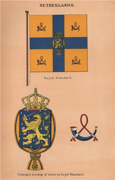 Associate Product NETHERLANDS FLAGS. Royal Standard. Arms on Royal Standard 1916 old print