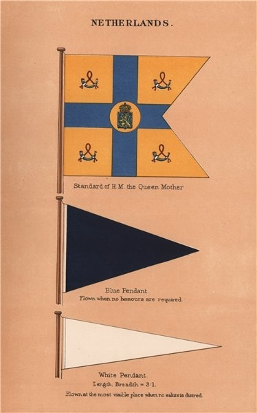 Associate Product NETHERLANDS FLAGS. Standard of H.M. the Queen Mother. Blue & White Pendants 1916