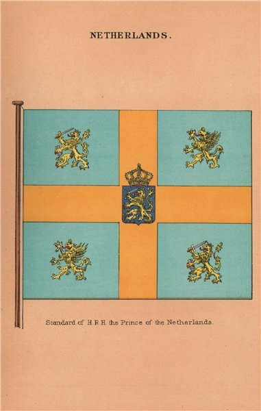 NETHERLANDS FLAGS. Standard of H.R.H. the Prince of the Netherlands 1916 print