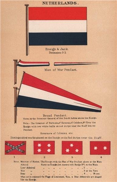 Associate Product NETHERLANDS FLAGS. Ensign & Jack. Man of War & Broad Pendant 1916 old print