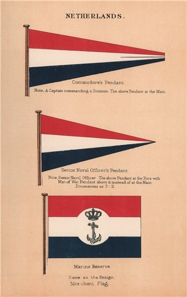 Associate Product NETHERLANDS FLAGS Commodore's Pendant. Senior Naval Officer. Marine Reserve 1916