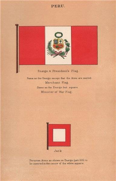 Associate Product PERU FLAGS. Ensign & President's Flag. Merchant Flag. Minister of War. Jack 1916