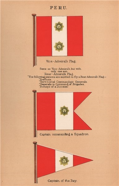 Associate Product PERU FLAGS. Vice-Admiral's Flag. Squadron Captain. Captain of the Bay 1916