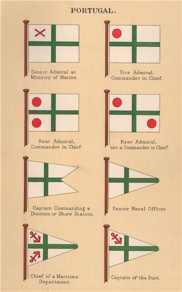 Associate Product PORTUGAL FLAGS. Senior Admiral. Vice Admiral. Rear Admiral. Captain of Port 1916