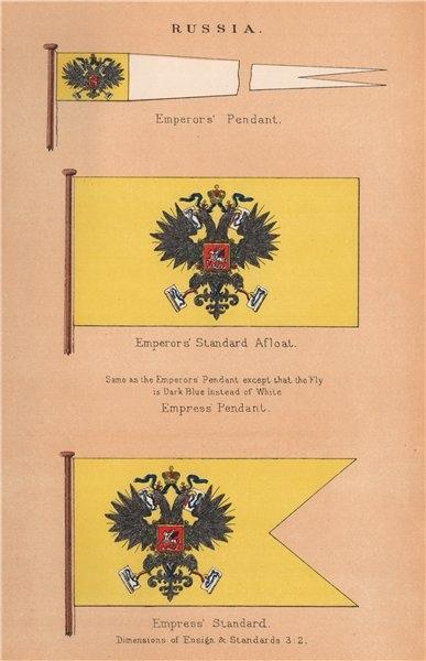 Associate Product RUSSIA FLAGS. Emperor's Pendant & Standard Afloat. Empress Pendant/Standard 1916