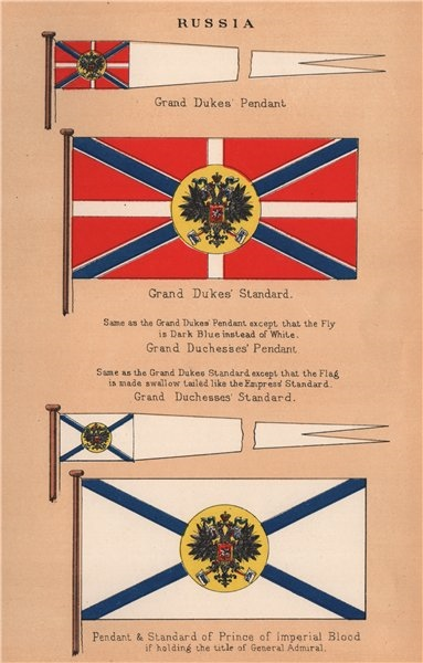 Associate Product RUSSIA FLAGS. Grand Duke Duchess Pendant Standard. Prince of Imperial Blood 1916