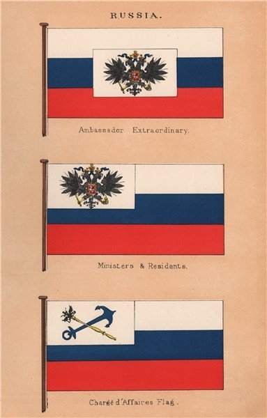 RUSSIA FLAGS Ambassador Extraordinary Ministers Residents Chargé d'Affaires 1916