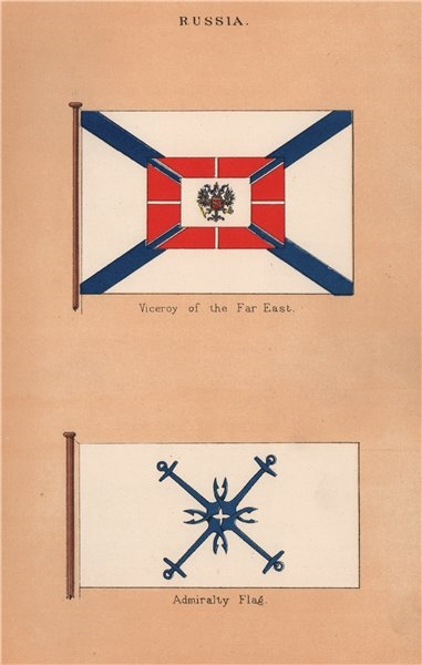 Associate Product RUSSIA FLAGS. Viceroy of the Far East. Admiralty Flag 1916 old antique print