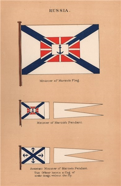 Associate Product RUSSIA FLAGS. Minister of Marine's Flag & Pendant & Assistant Minister 1916