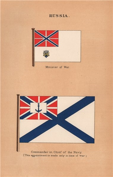 Associate Product RUSSIA FLAGS. Minister of War. Commander in Chief of the Navy 1916 old print