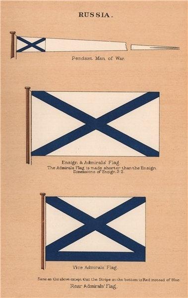 Associate Product RUSSIA FLAGS. Pendant Man of War. Ensign. Admiral's Flag. Rear/Vice Admiral 1916