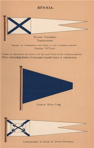 Associate Product RUSSIA FLAGS. Broad Pendant Commodore. Guard Ship. Ports Commander in Chief 1916