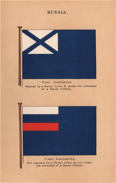 Associate Product RUSSIA FLAGS. Fleet Auxiliaries. Un/manned by Naval Crew & under command 1916