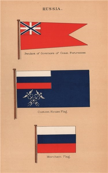 Associate Product RUSSIA FLAGS. Governor of Coast Fortresses pendant. Custom House. Merchant 1916