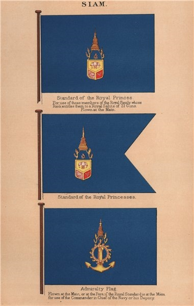 Associate Product SIAM FLAGS. Standard of Royal Princes/Princesses. Admiralty Flag. Thailand 1916